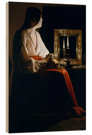 Wood print  The Penitent Magdalen - Georges de la Tour