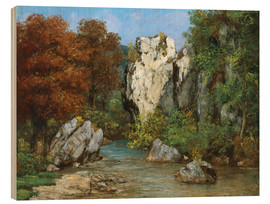 Wood print  Landscape by the stream - Gustave Courbet