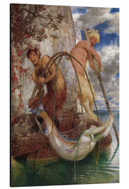 Aluminium print  Two fishing pans - Arnold Böcklin