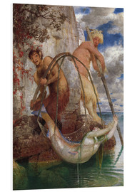 Foam board print  Two fishing pans - Arnold Böcklin