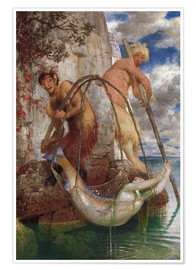 Premium poster  Two fishing pans - Arnold Böcklin