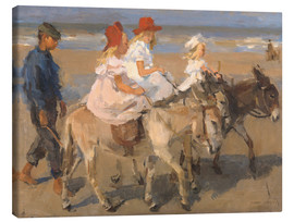Canvas  Donkey rides on the beach - Isaac Israels
