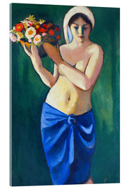 Acrylic print  Woman, carrying a flower cup - August Macke