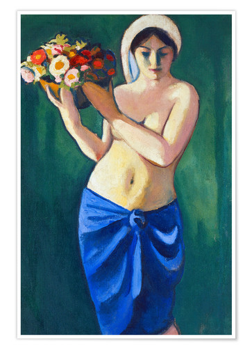 Premium poster Woman, carrying a flower cup