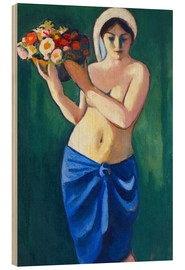 Wood  Woman, carrying a flower cup - August Macke