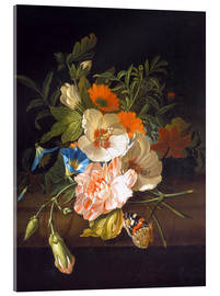 Acrylic print  Floral still life with butterflies on a stone bench - Rachel Ruysch