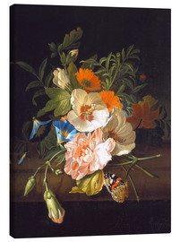 Canvas  Floral still life with butterflies on a stone bench - Rachel Ruysch