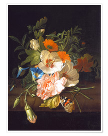Premium poster Floral still life with butterflies on a stone bench