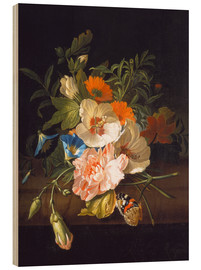 Wood print  Floral still life with butterflies on a stone bench - Rachel Ruysch
