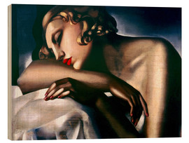 Wood print  The sleeper - Tamara de Lempicka