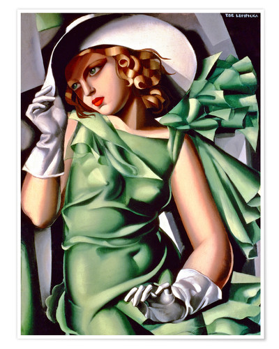 Premium poster Young lady with gloves