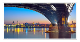 Premium poster Mainz Germany  with rhine bridge